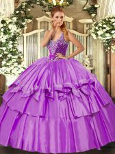 Custom Design Lilac Straps Neckline Beading and Ruffled Layers Quinceanera Dresses Sleeveless Lace Up