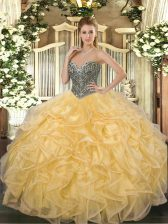 Sweetheart Sleeveless Sweet 16 Quinceanera Dress Floor Length Beading and Ruffles Gold Organza