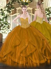 Clearance Gold Lace Up Sweetheart Beading and Ruffles Ball Gown Prom Dress Organza Sleeveless