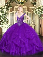 Ball Gowns Ball Gown Prom Dress Purple V-neck Tulle Sleeveless Floor Length Lace Up