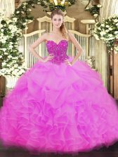 Fancy Floor Length Ball Gowns Sleeveless Fuchsia Sweet 16 Dresses Lace Up