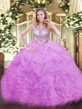 Dazzling Lilac Scoop Lace Up Beading and Ruffles and Pick Ups Vestidos de Quinceanera Sleeveless