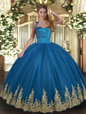 Excellent Blue Lace Up Quince Ball Gowns Appliques Sleeveless Floor Length