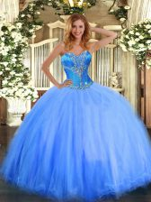Discount Blue Ball Gowns Tulle Sweetheart Sleeveless Beading Floor Length Lace Up Sweet 16 Quinceanera Dress
