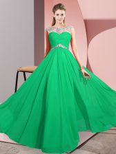 Best Sleeveless Clasp Handle Floor Length Beading Prom Party Dress