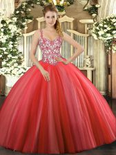 Coral Red Ball Gowns Tulle Straps Sleeveless Beading and Appliques Floor Length Lace Up 15 Quinceanera Dress