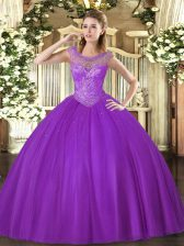 Fancy Floor Length Lace Up Sweet 16 Dress Eggplant Purple for Sweet 16 and Quinceanera with Beading