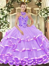 Cheap Sleeveless Floor Length Beading and Embroidery and Ruffled Layers Lace Up Quinceanera Gown with Lavender