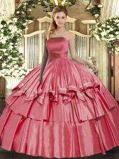 Coral Red Lace Up Strapless Ruffled Layers Quinceanera Gowns Organza Sleeveless