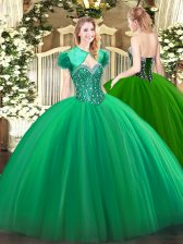 Ball Gowns 15 Quinceanera Dress Turquoise Sweetheart Tulle Sleeveless Floor Length Lace Up