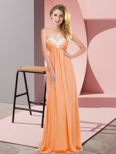 Chiffon Sleeveless Floor Length Dress for Prom and Ruching