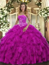 Hot Selling Organza Strapless Sleeveless Lace Up Beading and Ruffles Sweet 16 Dresses in Fuchsia