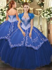 Floor Length Lace Up Quinceanera Dress Blue for Military Ball and Sweet 16 and Quinceanera with Beading and Embroidery