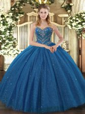 Dramatic Ball Gowns Quinceanera Gown Teal Sweetheart Tulle Sleeveless Floor Length Lace Up