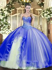 Stylish Sleeveless Tulle Floor Length Lace Up Quince Ball Gowns in Blue with Beading and Ruffles