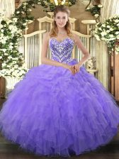 Lilac Tulle Lace Up Sweetheart Sleeveless Floor Length Quinceanera Gown Beading and Ruffles