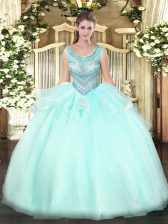 Beauteous Aqua Blue Scoop Neckline Beading Quince Ball Gowns Sleeveless Lace Up