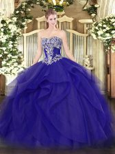 Adorable Floor Length Blue 15 Quinceanera Dress Tulle Sleeveless Beading and Ruffles