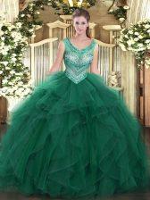 Floor Length Dark Green Quinceanera Dress Scoop Sleeveless Lace Up