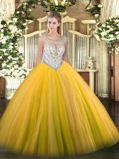Popular Scoop Sleeveless Sweet 16 Quinceanera Dress Floor Length Beading Gold Tulle