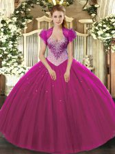 Customized Sleeveless Floor Length Beading Lace Up 15 Quinceanera Dress with Fuchsia