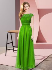 Chiffon Strapless Sleeveless Zipper Lace Evening Dress in Green