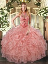 Luxury Peach Ball Gowns Beading and Embroidery and Ruffles Sweet 16 Dresses Lace Up Organza Sleeveless Floor Length