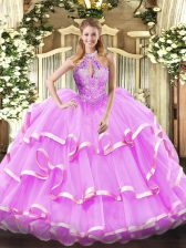 Charming Ball Gowns Sweet 16 Quinceanera Dress Lilac Halter Top Organza Sleeveless Floor Length Lace Up