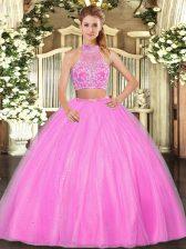 Hot Pink Criss Cross Quinceanera Dresses Beading Sleeveless Floor Length