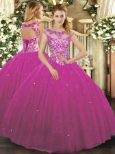 Beading and Appliques Quinceanera Dress Fuchsia Lace Up Cap Sleeves Floor Length