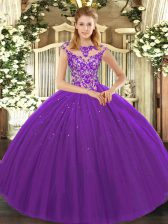 Beauteous Scoop Sleeveless Tulle Ball Gown Prom Dress Beading and Appliques Lace Up