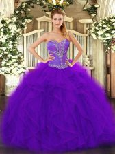 Trendy Sleeveless Beading and Ruffles Lace Up Quinceanera Dress