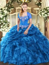 Excellent Sweetheart Sleeveless Lace Up Sweet 16 Quinceanera Dress Blue Organza