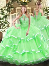 Ball Gowns Beading and Ruffles Sweet 16 Dresses Lace Up Organza Sleeveless Floor Length