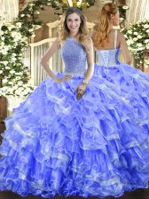 Blue Ball Gowns Beading and Ruffled Layers Sweet 16 Quinceanera Dress Lace Up Organza Sleeveless Floor Length