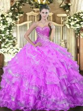 Fashionable Floor Length Lilac Quinceanera Gowns Sweetheart Sleeveless Lace Up