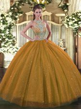 Shining Brown Halter Top Lace Up Beading Quinceanera Dress Sleeveless