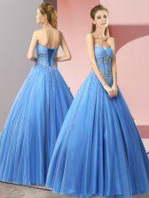 Edgy Sweetheart Sleeveless Tulle Homecoming Dress Beading Lace Up