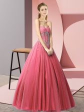 Coral Red Sweetheart Lace Up Beading Dress for Prom Sleeveless
