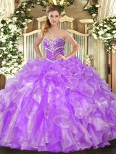 Lavender Lace Up Sweetheart Beading and Ruffles Sweet 16 Dress Organza Sleeveless