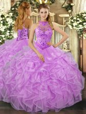 Lavender Organza Lace Up Quinceanera Dresses Sleeveless Floor Length Beading and Ruffles
