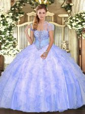 Light Blue Sleeveless Floor Length Appliques and Ruffles Lace Up 15th Birthday Dress