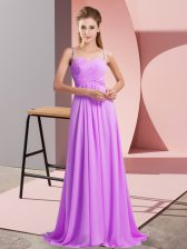 Free and Easy Sleeveless Sweep Train Ruching Backless Prom Evening Gown