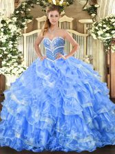Stylish Floor Length Ball Gowns Sleeveless Baby Blue Sweet 16 Dresses Lace Up