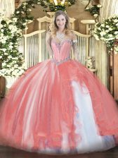 Sweetheart Sleeveless Lace Up Sweet 16 Quinceanera Dress Coral Red Tulle