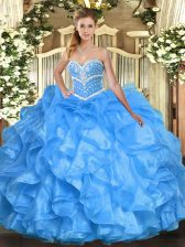 Baby Blue Ball Gowns Sweetheart Sleeveless Organza Floor Length Lace Up Beading and Ruffles Sweet 16 Dresses