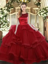 Wine Red Sleeveless Tulle Lace Up Vestidos de Quinceanera for Military Ball and Sweet 16 and Quinceanera