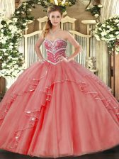 Dazzling Coral Red Sweetheart Lace Up Beading and Ruffles Sweet 16 Dresses Sleeveless
