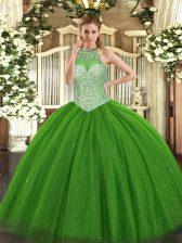 Green Halter Top Lace Up Beading Vestidos de Quinceanera Sleeveless