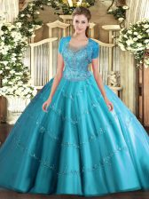 Clearance Aqua Blue Sleeveless Beading and Appliques Floor Length Sweet 16 Dresses